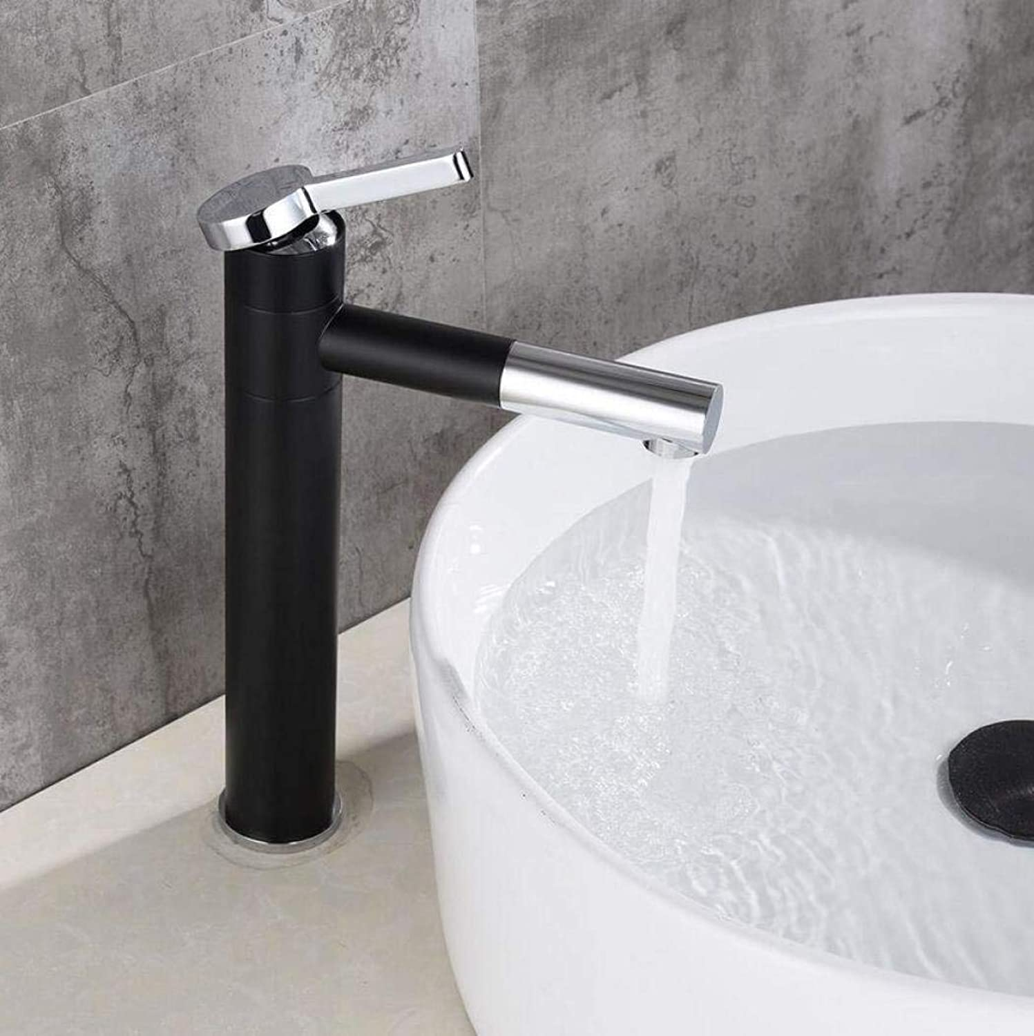 Bathroom Kitchen Sink Faucet,Black Modern Design High Basin Single Handle Cold and Hot Mixing Faucet.