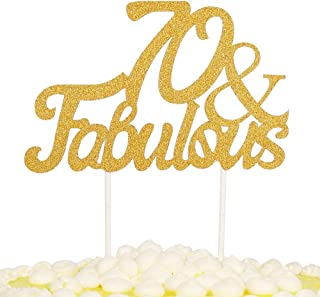 PALASASA Gold Glitter 70 & Fabulous Cake Topper, Wedding, Birthday, Anniversary, Party Cupcake Topper Decoration