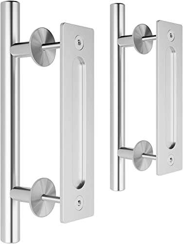 high quality SMARTSTANDARD wholesale 2PCS 12 Inch Heavy Duty Sliding Barn Door Handle, sale Stainless Steel Pull and Flush Hardware Set, Round outlet sale