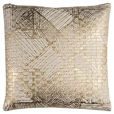 Rizzy Home PILT11424NTGL2020 One of A Kind Textured Foil Print Abstract Decorative Pillow,Natural