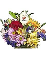 Ramo de flores naturales a domicilio variadas con rosa tatuada con el envio y la nota dedicatoria incluida en el petalo