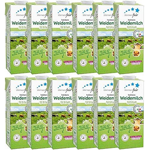 sternenfair - H-Vollmilch 3,5 % in 1 Liter Packung - Haltbare Milch aus NRW - Artgerechte Tierhaltung, ohne Gentechnik und Bienenfreundliche Flächenbewirtschaftung - 12er Pack - 12x 1 Liter