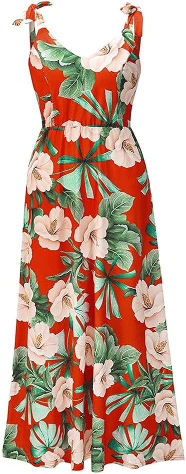 Ladies Dress Sexy Slim Floral Sling Dress Summer European and American Plus Size Women's Bohemian Dress (Color : A, Size : Small)