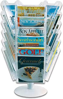 Ultimate Office Literature Display 18-Pocket Revolving Countertop Design with Crystal Clear Cascading Pockets