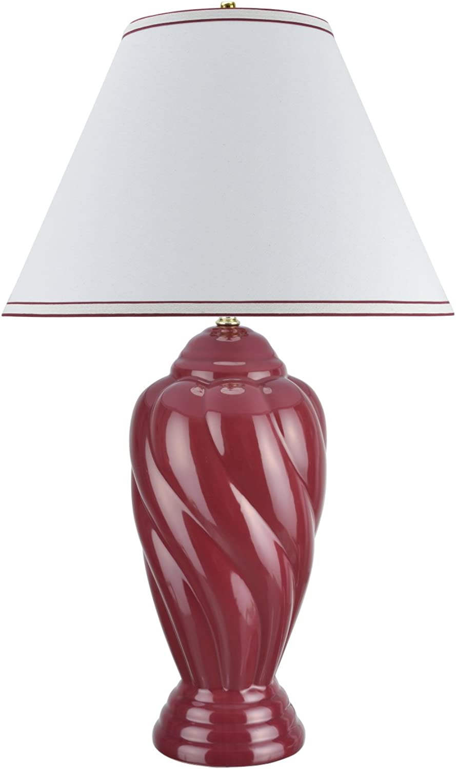 Aspen Creative 40064-3, 30  High Traditional Ceramic Table Lamp, Burgundy Finish with Hardback Empire Shaped Lamp Shade in Off White, 18  Wide