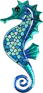 HONGLAND Metal Seahorse Wall Decor Outdoor Indoor Art Sculpture Blue Mosaic Glass Decorations for Home Garden Bedroom