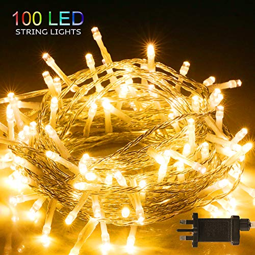 100 LED Fairy Lights Plug in, BIGHOUSE 10M/32.8ft 8 Lighting Modes Waterproof Outdoor LED String Lights for Bedroom Garden Wedding Curtain Christmas Decoration, Warm White