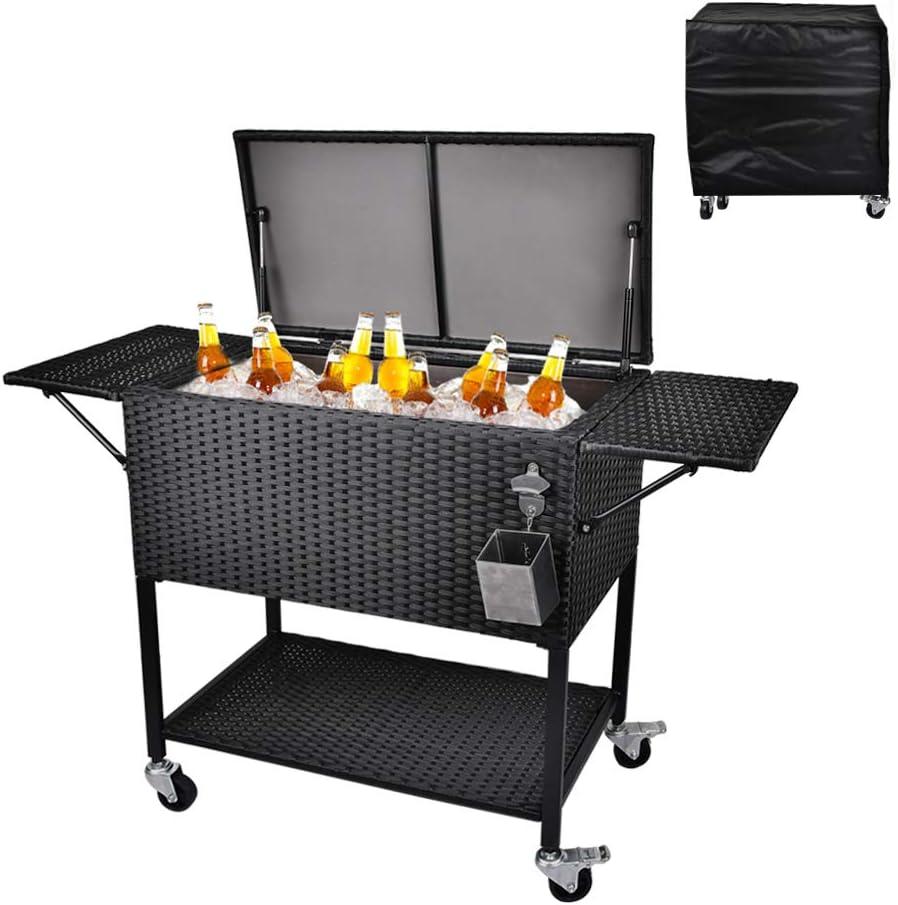 Top Union 80 Quart Rattan Max 66% OFF Rolling Portable Cooler Cart Nashville-Davidson Mall Wicker C