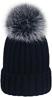 MISI US Winter Womens Girls Knitted Fur Hat Real Large Silver Fox Fur Pom Pom Knit Beanie Hats Cap Hat Fox Fur Ball Pom Pom Cap Faux Fur Pom Pom Beanie Brook