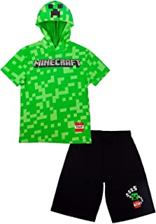 Minecraft Boys Costume Short Set with Black TNT Short and Mincraft Logo on Green Hooded T-Shirt