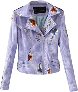 Macondoo Women Fashion Embroidery Faux Leather Coat Moto Jacket
