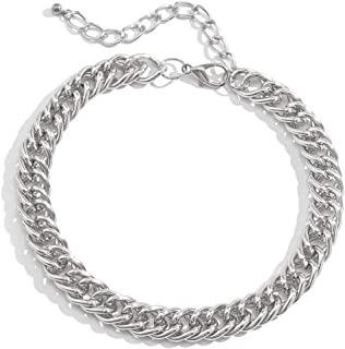 Salircon Chunky Necklace 18 inches Punk Statement Necklace Hip Hop Style Sturdy Adjustable Wire Choker Chain Necklace for Men