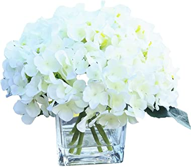 Home 7 Cream Hydrangea Silk Flower in Clear Glass Vase with Faux Water Handmade