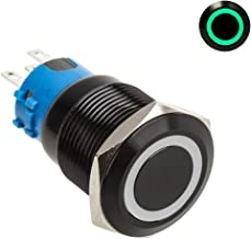 Lamptron Black Vandal-Resistant Switch, 22mm Face, Momentary Type, Ring Illuminated, Green LED