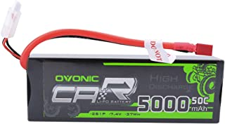 Ovonic 7.4V 5000mAh 50C 2S LiPo Battery Pack HardCase with T Plug for RC Car Traxxas Slash Buggy Team Associated