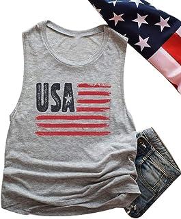HRIUYI Womens American Flag Vest Top 4th of July Sleeveless USA Summer Tank Top