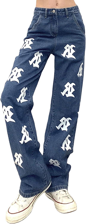 COTUMEl Women's Bootcut Jeans High-Waist Phoenix Mall Printed Straig Fashion gift