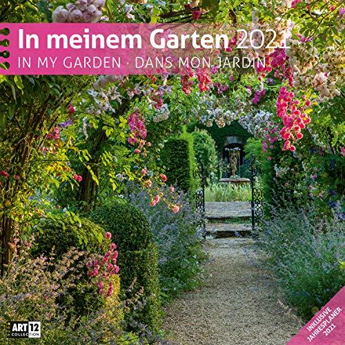 In meinem Garten 2021, Wandkalender / Broschürenkalender im Hochformat (aufgeklappt 30x60 cm) - Geschenk-Kalender mit Monatskalendarium zum Eintragen