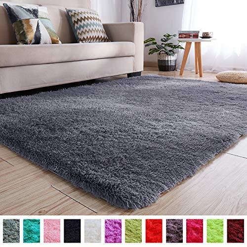 PAGISOFE Soft Kids Room Nursery Rug Bedroom Living Room Carpet 4' x 5.3',Gray