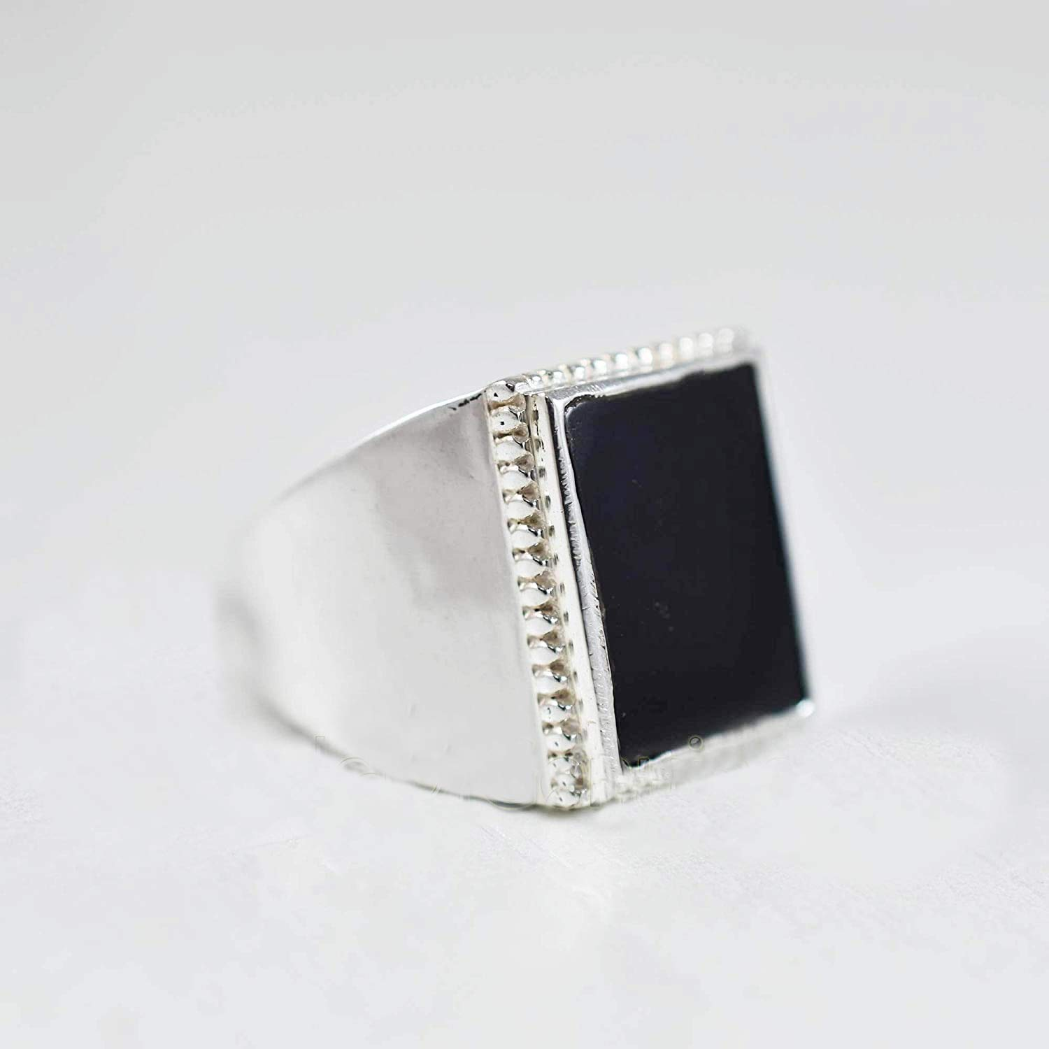 Seattle Mall Black Onyx Reservation Silver Ring Solid Sterling 925K Rectang Flat
