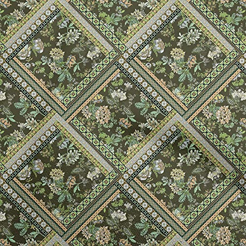 oneOone Cotton Poplin Olive Green Fabric Florals Sewing Craft Projects Fabric Prints by Yard 42 Inch Wide-D4