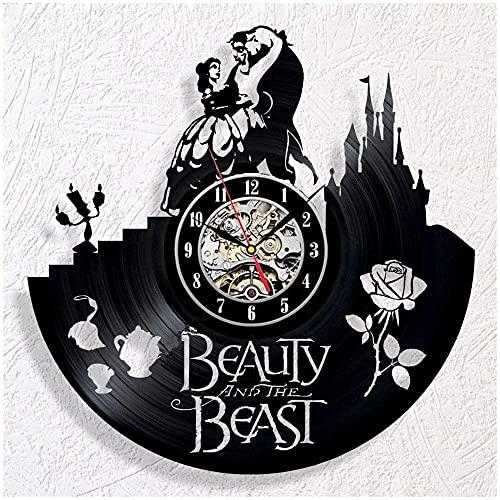 La Bella y la Bestia Reloj de Pared diseño Moderno Reloj de Vinilo clásico Hueco Negro Reloj Decorativo clásico CD Reloj Mudo