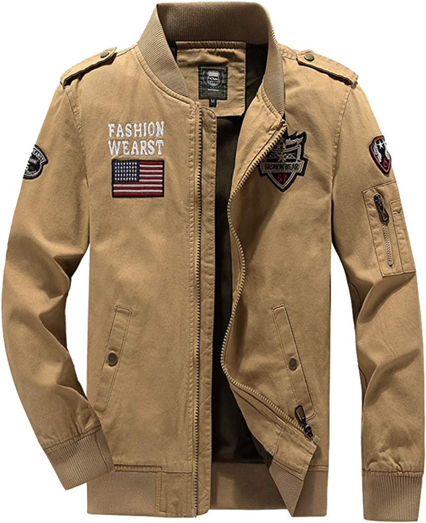 Utility Jacket Men's Jacket Washed Cotton Jacket Autumn Style Men's Military Workwear Casual Autumn Jacket-B-XL