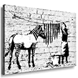 'Banksy' WASHING ZEBRA ; Graffiti Druck auf leinwand Nr97361723. Bild fertig auf Keilrahmen ! Pop Art Gemälde Kunstdrucke, Wandbilder, Bilder zur Dekoration - Deko / Top 200 'Banksy' Streetart Wandbilder