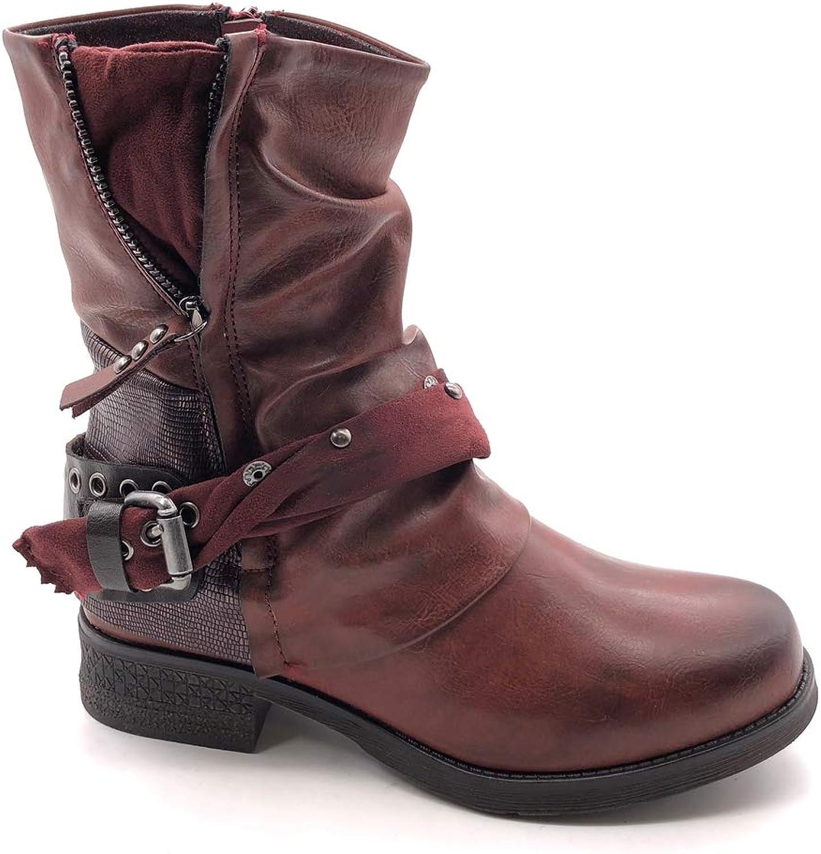 Angkorly - Damen Schuhe Stiefeletten - Biker - bi-Material bi-Material bi-Material - Classic - Nieten - besetzt - String Tanga - Reißverschluss Blockabsatz 3.5 cm  164258
