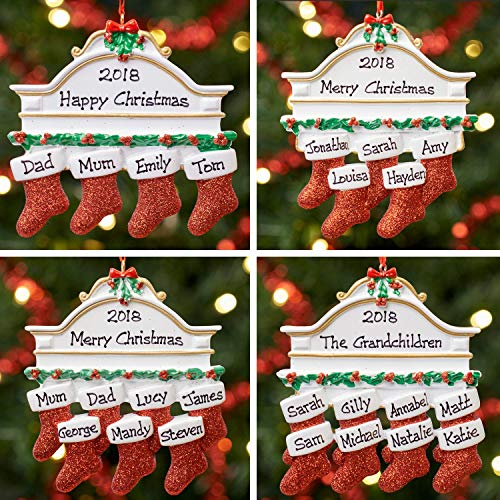 Personalisierte Dekoration Weihnachtsbaum Familie - Kamin Familie 2, 3, 4 5, 6, 7 & 8 | Mantel Family