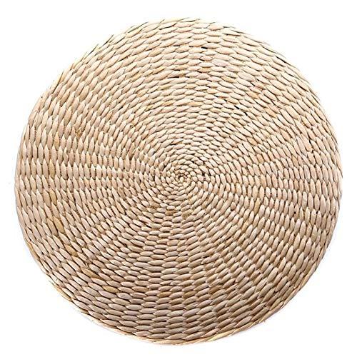 GYC Best Stuhl Sitzmatte Gras Kissenauflage Beige Handgemachtes rundes Strohgeflecht Kissen Bodenmatte Yoga Zen...