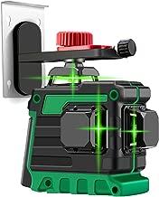 KKmoon Medidor de nivel autonivelante Nivel l/áser profesional L/ínea l/áser Medidor de nivel l/áser de luz verde 12 l/íneas Cross Line Laser Smart Touch Control Nivelador l/áser con base pivotante