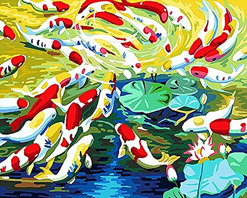 N/ A DIY digitale schilderij, fotolijst vis dier moderne muurschildering canvas kalligrafie schilderij, handgeschilderd door kinderen en volwassenen