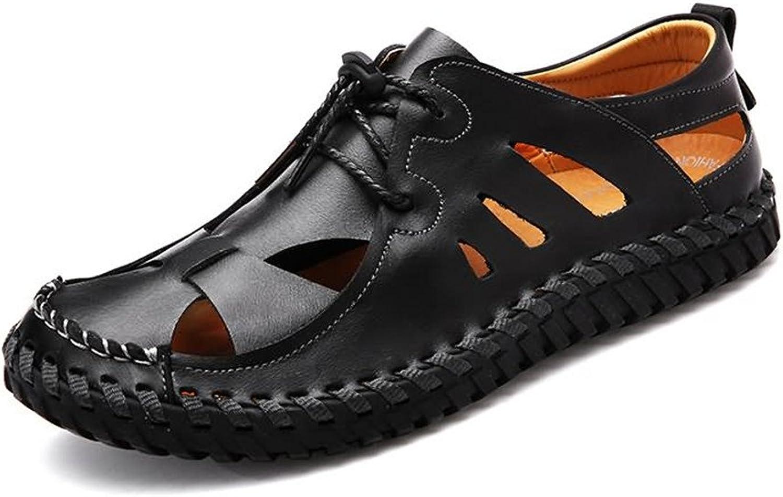 ANNFENG Mode Mode Sommer Strand Outdoor Casual leichte atmungsaktive Herren Sandalen, Komfort Elegante Flache Ferse hohlen Slip On Schuhe (Farbe   Schwarz, Größe   41 EU)  klassische Mode