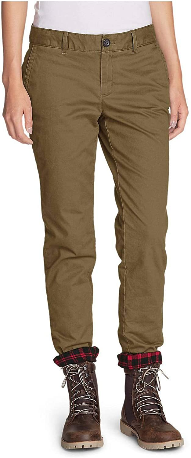 Eddie Bauer Women's Stretch Legend Wash FlannelLined Pants  Boyfriend