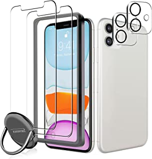 [2+2+1 Pack] Panawabi 2pcs Screen Protector Compatible with iPhone 11 6.1-inch Tempered Glass +2pcs Camera Lens Protector ...