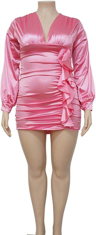 Alavo Plus Size Slim Women Dress, V-Neck Pencil Short Dress