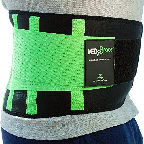 Supporto lombare di Grado Medico per la prevenzione di infortuni o per alleviare mal di schiena e disagio da Sciatica, Ernia del disco, Stenosi- Verde Large 81-98cm