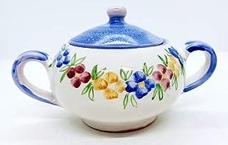 Zuccheriera Linea Blu Fiori Multicolore Realizzata e Dipinta a mano Le Ceramiche del Castello Made in Italy 16 x 9 cm