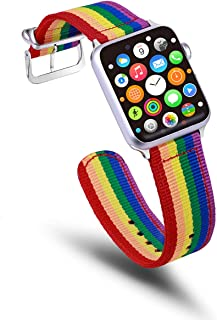 TinaWood Rainbow Wristband Watch Strap Comfortable Denim Fabric Replacement Band Compatible for Apple Watch iWatch Series 4/3/2/1 (Rainbow, 42MM/44MM)