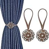 MoKo 2PZS Abrazaderas Cortinas, Alzapaños Magnéticos con Diamante de Cristal Artificial, Hebillas Decorativas con Cuerda para Recámara, Sala de Estar, Oficina - Bronce