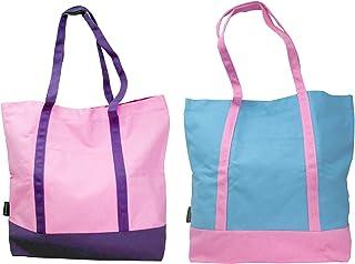 Ezprogear Canvas Cotton Tote Bag 20 Inch W x 17 Inch H x 6 Inch D (2x Pk/Pr+Sb/Pk)