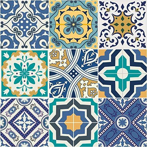 Ambiance-Live Azulejos hidráulicos Adhesivos para la Pared–Azulejos–10x 10cm–9Piezas