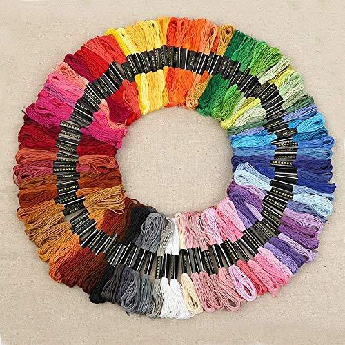 AOFOX 100 Stränge Regenbogen Farbe Stickerei Zahnseide Faden Kreuzstich Fäden für Zahnseide Nähen Kunsthandwerk (100 Farben)