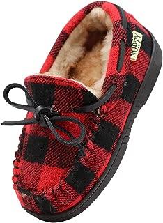 NORTY Toddler/Little Kid/Big Kid Fleece Buffalo Plaid Moccasin Slippers