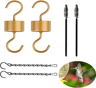 SEZN Ant Moat for Hummingbird Feeders and Oriole Feeders,6 Packs Hummingbird Feeder Accessory Hooks,2 Metal Hooks with 2 Hummingbird Feeder Brushes and 2 Hanging Chains (Copper) (6pcs)