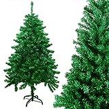 Arbol de Navidad Artificial 150cm, Abeto de Hoja Verde con Soporte Metálico Frondoso Árbol Navidad Artificial PVC Material Ignífugo, Fácil de Instalar Abeto Navidad con 450 Tips Decoración Navideña