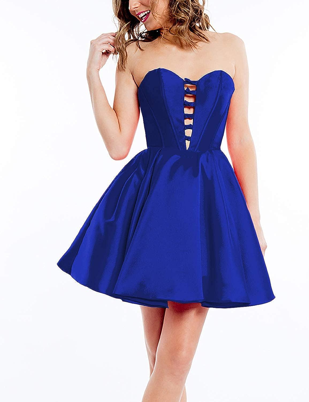 EverBeauty Womens Short Sweetheart Satin Homecoming Dress Sleeveless Aline Party Dress