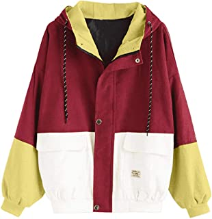 Women's Hooded Drawstring Sweatshirt Button Zipper Corduroy Patchwork Jacket Color Block Windbreaker Overcoat with Pockets
