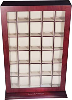 30 Piece Cherry Wood Personalized Watch Display Wall Hanging Case and Storage Organizer Box and Stand